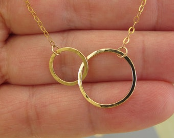 14k Solid gold 2 hoops endless  pendant necklace, Hammered integrated circles necklace, 14k gold necklace-Lowest price on Etsy