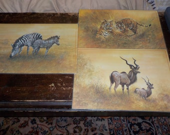 Wild Life Place Mats Set Reversible Giordano,Vintage Place Mats,Place Mats,Vintage Home Decor,Wild Life,Men Cave,Not Included in Coupon Sale