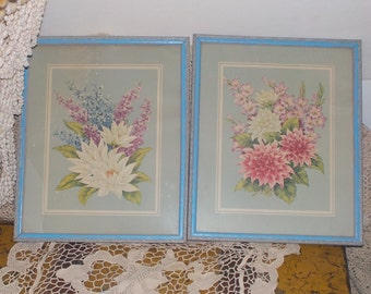 Vintage Set of Shabby Cottage  Country Flower Prints in Beautiful Frames