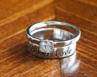 Forever Love Ring- Couple's Ring- Promise Ring- Anniversary Gift- Diamond Square CZ Ring- Stackable Ring
