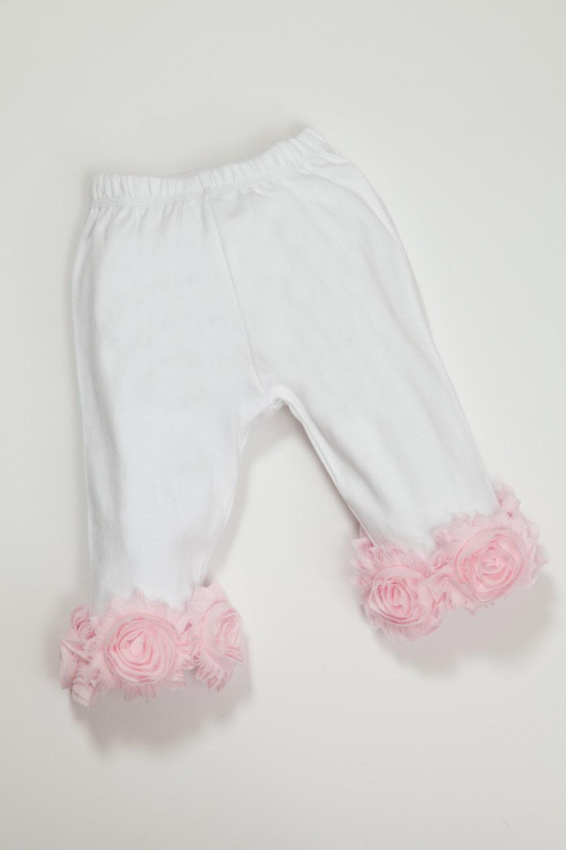 White Baby Girl Pants Infant Capri Pants With Chiffon Flowers