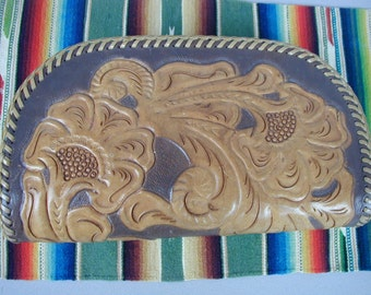 Vintage Hand Tooled Leather Purse, Clutch or Wristlet Style, Nearly New, Mid-Century, Southwest