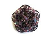 Vintage Rhinestone Brooch, Lavender Antique Silver Tone Metal, 3 Dimensional