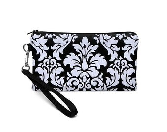iPhone 6S Plus Clutch, Galaxy Note Edge Wristlet Strap, Small Errand Runner, Coupon Zipper Purse - black dandy damask