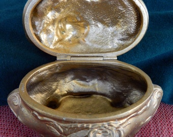 Antique Jewelry Box, Gold Painted Metal, Hinged and Footed Victorian Style, no lining, good vintage condition
