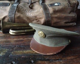 1940s WWII US Army Private Officer Dress Hat ~ Wool Leather Brass Badge Buttons ~ Military