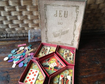 Antique French Board Game, Nain Jaune, Yellow Dwarf Game, Colorful Clay Chips and Game Pieces