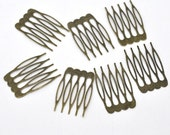 5 Bronze Hair Combs - Nickel Free - Lead Free - Wedding Bridal Comb - 39mm x 26mm - Hair Clip Accessories - Silver Comb (14362)