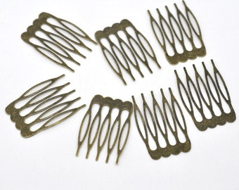 30 Bronze Hair Combs - Nickel Free - Lead Free - Wedding Bridal Comb - 39mm x 26mm - Hair Clip Accessories - Silver Comb (14362)