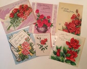 Roses Card Lot / 6 Vintage Rose cards Reds, White, Silver, Birthday, Get Well, Graduation, Anniversary Rose Cards  1940's-1950's Used