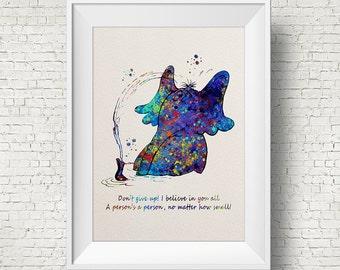 Dr Seuss, Horton Hears A Who, Children's Print, Kids room, Home Decor, Wall art, Watercolor, Horton, Colorful