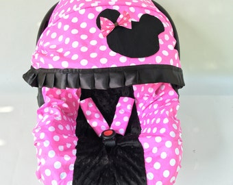 Baby Car Seat Cover Canopy, Infant Car Seat Cover Canopy, minnie mouse style for Baby Girl Car Seat Cover, fit most Infant car seat