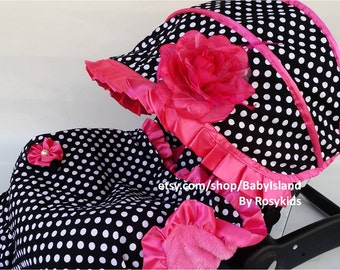 Baby Car Seat Cover Canopy, Infant Car Seat Cover Canopy, Damask/Polka Dots Hot Pink, for Baby Girl, fit most Infant car seat