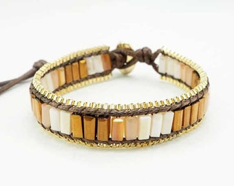 Gold color crystal with box chain wrap bracelet.