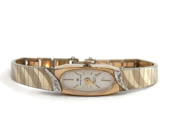 Hamilton Bracelet Watch 10K Rolled Gold with Diamond Chips and Duchess Watchband