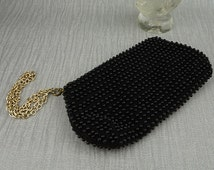 Small Faux Beaded 1960s Black Purse with Newer Added Chain