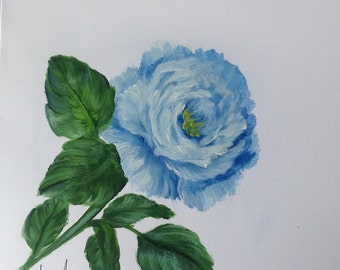 Hand Painted Blue Rose Greeting Card