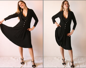 Vintage 1940's  Little Black Dress long sleeves