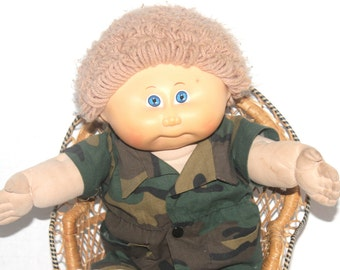 Vintage 1982 Army Cabbage Patch Doll, Football, Antique Alchemy