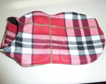 """XXS XLong - Winter Plaid Fleece Dog Coat in Red, Black and White (Extra Extra Small - Extra Long 12"""")"""