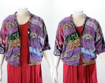 Plus Size Vintage Jacket - Oversized Crazy Patchwork Jacket