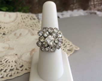 Incredible Vintage Rhinestone Ring Right hand Statement Ring