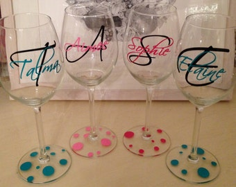 Custom Vinyl Wine Glass Decals Bridal Party - Wine glass custom vinyl stickers