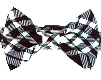 Black Plaid Bow Tie Dog Collar; Black and Ivory Dog Bow Tie and Collar: Eastham Plaid