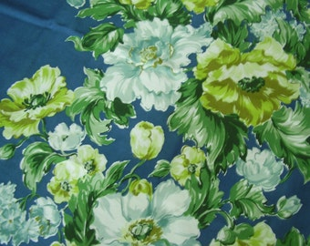 Vintage 1950's Floral Dark Teal, Chartruese, Blues, Aqua White Floral Decorators Fabric, 3 yards