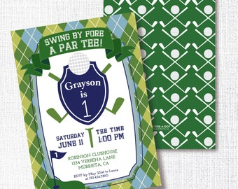 GREEN NAVY GOLF invitation boy's birthday party invitation swing by fore a par-tee mini golf preppy argyle boy birthday