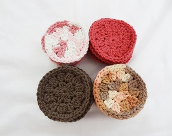 A Set of 24 Crochet Face Scrubbies/Facial Scrubbies/Cotton Pads/Cleansing Pads - 100% Cotton - Ready to Ship