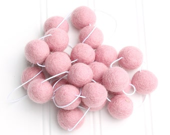 Pink Felt Ball Garland for Girls, Pink Pom Pom Garland for Girls, Nursery Decor, Baby Shower Decor, Kids Room Garland, Girls Room Bunting