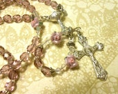 First Communion Girls Lavendar Pink Roses Rosary