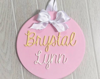 Personalized round wood sign - wood cut out letters - hanging wood sign - trendy nursery sign - baby shower