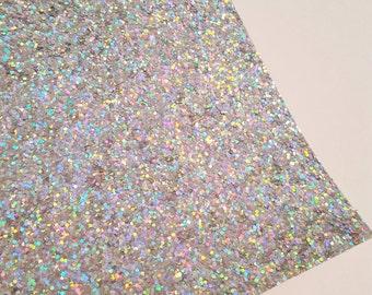 SALE 8x11 Hologram Chunky Glitter Fabric Sheet