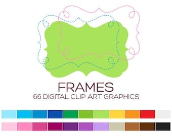 Digital Frame Clipart Digital Frames and Borders Label Clipart Digital Labels For Jars Frames Vintage Wedding Clipart Doodle Frames - A00164