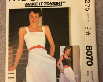 SEWING - 1982 Original Vintage Misses Sundress McCall's Make It Tonight Sewing Pattern #8070 Size B (8-10-12)