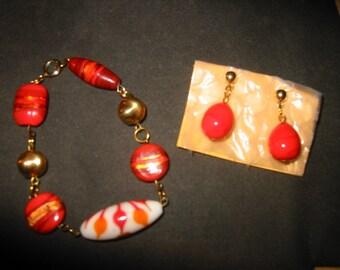Abstract Art in Burnt Umber an OOAK Kay Creatives Originals (bracelet & earrings)