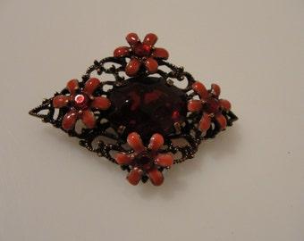 "vintage red flower pin brooch 2"" x 1 3/8"""