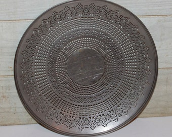 Vintage Manning Quality Bowman Aluminum Serving Tray -Meriden Conn -Filigree Pattern - Retro- Collectibles- Metal -Rustic -Industrial- Urban