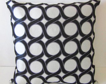 Retro Geometric Circles Pillow Cover Designer Mid Century Modern Pillow Mod Black Silver Gray Decorative Pillow Cover Throw Pillow