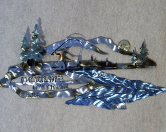 Christian Metal Wall Sculpture of Fly Fisherman  with Scripture set in Alpine Scene