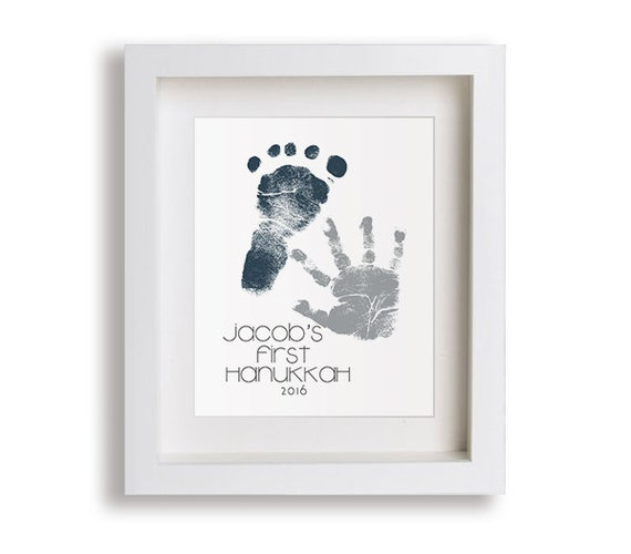 Baby's First Hanukkah - Personalized Hand and Foot Print - personalized gift idea, hanukkah, new mom, new dad, grandparents, gift idea