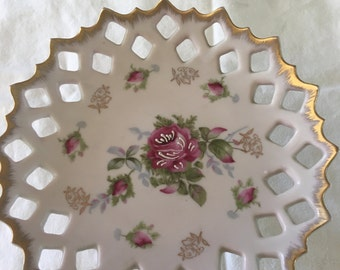 LEFTON PEDESTAL DISH- Pretty pale pink - Roses- Gilded- Reticulated