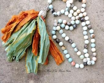 Long Hand Knotted Tassel Necklace - Amazonite Gemstones - Sari silk tassel
