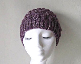 Purple beanie hat, amethyst beanie, chunky knit hat, uk hats, ladies hat, Winter accessories, Winter hat, women's hat