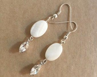 Pearl earrings - Bridal earrings -  earrings - Bridal Jewellery - Wedding Earrings - Statement jewellery - Shell earrings - Swarovski
