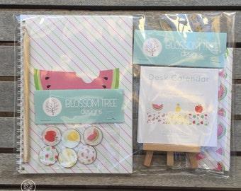 Stationery Gift Pack - Tutti Fruitti Watermelon. Notebook, Calendar, Bookmark, Magnets, Pencil.