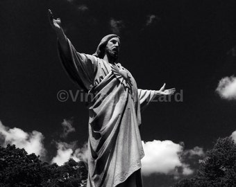 Mixed media,Art,Digital art, Digital, Digital download,Cemetery,God,Black and white,Clouds,Statue