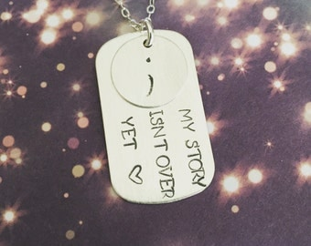 Semi Colon Project, My story isnt over yet, Custom Personalized Sterling Silver 925 Hand Stamped Necklace